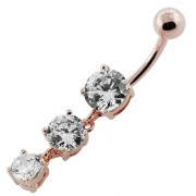 Moving Jeweled Charms dangling SS Bar Navel Ring