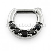 Five Pronged Black CZs Septum Piercing Clicker Ring
