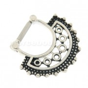 5 Round Cubic Zirconia Paved Septum Clicker Piercing