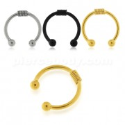 Surgical Steel Circular with Spring Fake Septum Piercing
