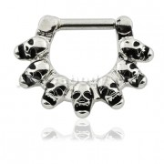Linked Skulls Septum Clicker Ring