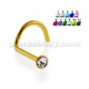 Gold PVD Anodized Jeweled 20G Nose Screw