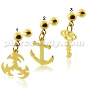 Gold PVD Plated Dangling Tragus Piercings