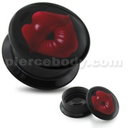 Whistling Girl Lips UV Internal Screw Fit Ear Tunnel