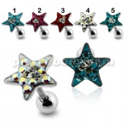 Star Crystal Surgical Steel Fake Ear Plug