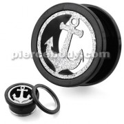 PVD Black Plated with Steel Matt Anchor Motive Flesh Tunnels