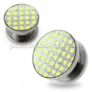 Light Green Dots on White Glitter Ear tunnel gauges