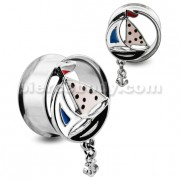 Sailing Boat with Dangling Anchor Double Flared Ear Plug