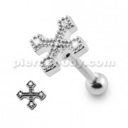 Micro Setting Jeweled Irish Cross Tragus Piercing