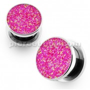 Glittering Pink Screw Fit Flesh Tunnel