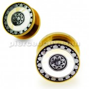 Gold PVD Platted Cut out Floral Jeweled Screw Fit Flesh Tunnel