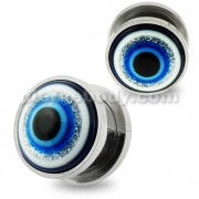 Glittering Blue Evil Eye Flesh Tunnel Body Jewelry