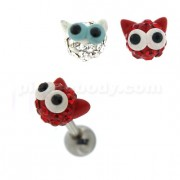 Multi Jeweled Big Eye Cat Cartilage Tragus Piercing Ear Stud
