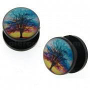 Tree of Life Logo UV External Screw Fit Ear Flesh Tunnel Gauges