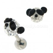Multi Jeweled Panda Cartilage Tragus Piercing Ear Stud