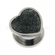 Single Rough Glittering Jet Hematite Heart Surgical Steel Flesh Tunnel