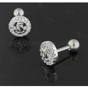 Cartilage Tragus Piercing Micro Jeweled Round Anchor Ear Stud