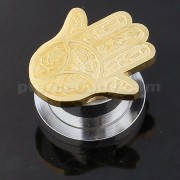 PVD Gold Surgical Steel Hamsa or Fathima Hand Flesh Tunnel