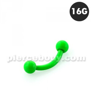 Neon Green 316L Surgical Steel Curved Barbells