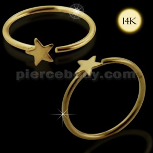 14K Gold Star Open Hoop Nose Ring