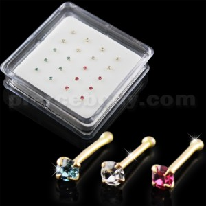 Clear,Aqua and Pink Color 9K Gold Ball End Nose Pins in Mini Box