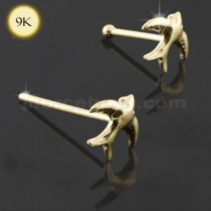 9K Solid Gold Flying Bird Nose Studs