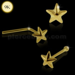 9K Solid Gold 3D Star Nose Studs