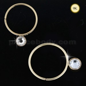 9K Gold Jeweled Seamless Continues Hoop Nose Ring