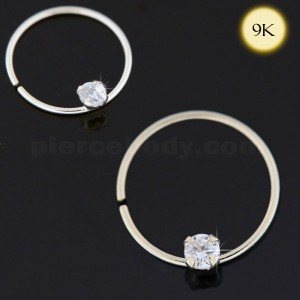 9K Gold Seamless Continues Hoop Nose Ring with CZ