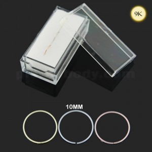 9K Gold 10 mm Seamless Continuous Nose Hoop Ring in Box