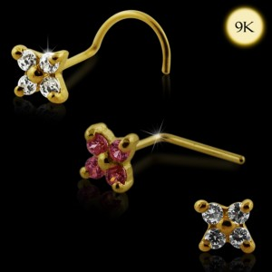 9K Gold 4 Stone Flower Nose Stud