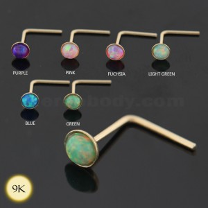 Opal Stone 9K yellow Gold L-Shape Nose Stud