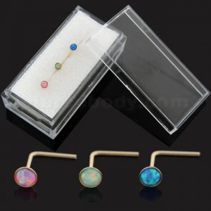 3 Pieces Opal Stone 9K yellow Gold L-Shape Nose Stud in Box