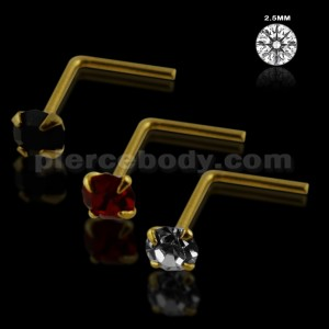 Clear,Black and Red Color 9K Gold L-Shape Nose Pins in Mini Box
