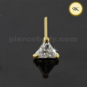 9K Gold Straight end Tri Angle Jeweled Nose Stud