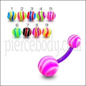 UV Belly Banana Bar With Pink And White UV Balls