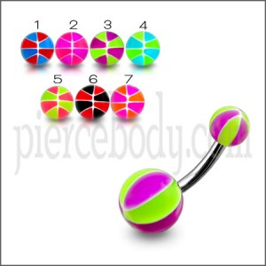 Surgical Steel Navel Banana Ring With Colorful UV Balls