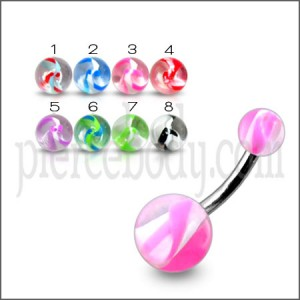 SS Banana Bar Navel Ring Body Jewelry With Mix UV Balls