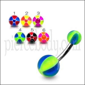 SS Curved Bar With Green And Blue UV Balls