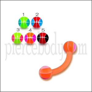 Orange UV Assorted Color  Banana with 3MM UV BasketBall Ball Eyebrow