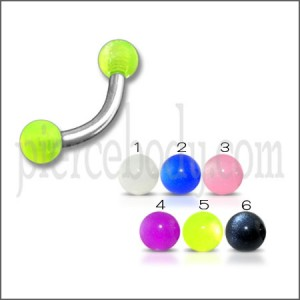 SS Banana Bar Lip Eyebrow with Green Color UV Balls Body Jewelry