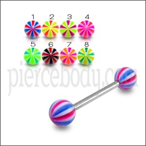 SS Tongue Barbell With Suction Hold Illusion UV Design Spiral Ball Tongue Stud