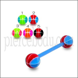 Mixed Color UV Barbell Ball Cap Stud Ear Lip Ring