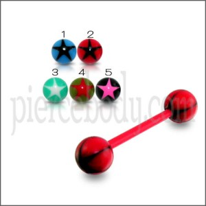 Red UV Tongue Barbell with Mix Color Star UV Balls