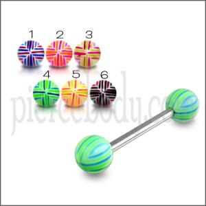 SS Tongue Barbell with Green Spiral UV Balls