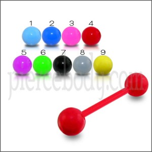 Red UV Tongue Barbell with UV Balls Body Jewelry