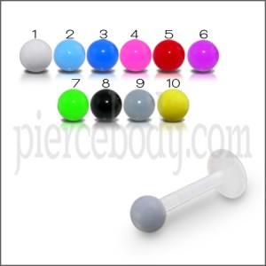 UV Body Jewelry Labret With UV Single Color Fancy Balls