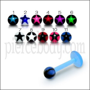 UV Labret With UV Fancy Star Printed Body Jewelry Balls
