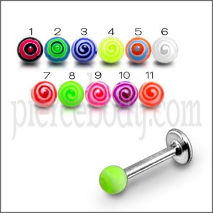 SS Labret With Circle Shade UV Fancy Balls