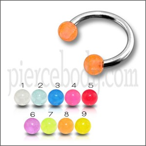 SS Circular Barbells with Orange UV Balls Body Jewelry